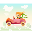 girl driving car vector image vector image