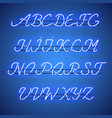 glowing blue neon uppercase script font vector image