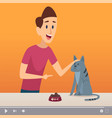 groomer man male with cat video content about vector image vector image