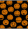 halloween pumpkin jack smile silhouette seamless vector image
