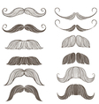 hand drawn set mustache vector image