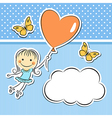 Happy girl with heart balloon vector image vector image