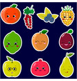 icons of fruit smiley stickers with a white vector image vector image