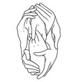 interlaced hands vector image vector image