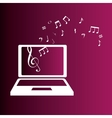 laptop with music notes color background vector image