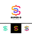 letter s and d monogram square shape logo with vector image vector image