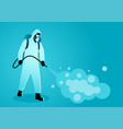 man in protective suit spraying disinfectant vector image