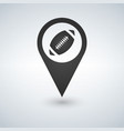 map pointer with football ball on the white vector image