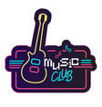 neon music club guitar background image vector image vector image