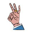 ok hand symbol pop art vector image vector image