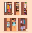 organized wardrobe shelves with clothes interior vector image vector image