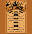 poster for jazz restaurant with live music vector image vector image