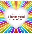 Rainbow heart background with declaration of love vector image