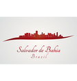Salvador de Bahia skyline in red vector image vector image