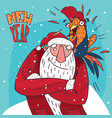 santa claus with rooster on his shoulder vector image vector image