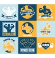 set different sports and fitness logo templates vector image vector image