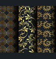 set victorian and floral golden backgrounds vector image