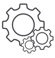settings line icon cog sign isolated on white vector image vector image