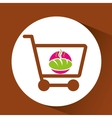 Shopping Cart with hot bread vector image vector image
