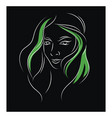 simple black green and white portrait sketch a vector image vector image