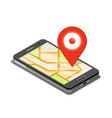 smartphone mobile navigation app and map pin vector image vector image
