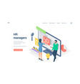 specialists managers working with data isometric vector image vector image