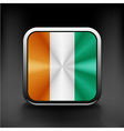 Square flag button series - Ivory Coast vector image vector image