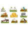 sticker set with different wild animals vector image