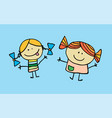 the little two girls have got a friendship vector image vector image