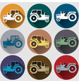 tractor icons flat design vector image