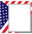 usa flag card with blank text frame vector image vector image