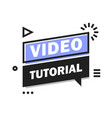 video tutorial icon webinar training online video vector image vector image