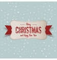 White Merry Christmas Banner with red Ribbon vector image