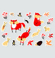 tags with animals and florals in childrens style vector image