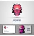 music logo design template headphones or vector image
