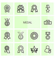 14 medal icons vector image vector image