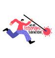 abstract jumping man strikes coronavirus vector image vector image