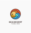 abstract tourism sea and desert landscape logo vector image