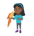 african little girl holding parrot on her hand vector image vector image