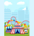 amusement rides in city park vector image vector image