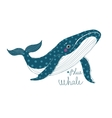 Big beautiful whale vector image vector image