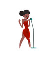 black woman in red evening dress singing with vector image