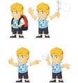 Blonde Rich Boy Customizable Mascot 9 vector image vector image