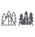 camping tent line and glyph icon travel and vector image