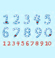 candy numbers set in blue sweet lollipop figure vector image