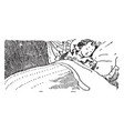 child sleeping in bed in this picture vintage vector image vector image