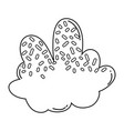 cloud with candy topping black and white vector image