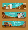 coffee shop banners morning vector image vector image