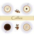 Collection of coffee cups Top view vector image