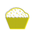cupcake sign yellow icon with square vector image